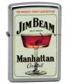 Zippo zapaľovač s motívom Jim Beam a kokteilom Manhattan.