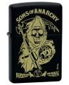 Zapaľovač Zippo s motívom slávneho seriálu Sons of Anarchy, po slovensky Zákon gangu.