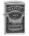Zippo zapaľovač s vystúpeným logom Jack Daniels a nápisom Tennessee Whiskey.