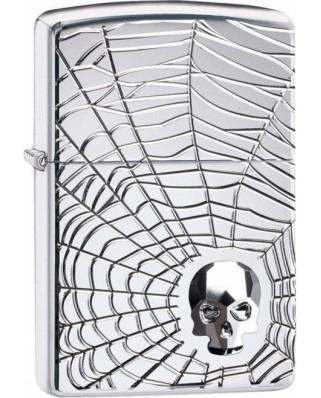Zippo Armor Swarovski Spider Web Skull 22070