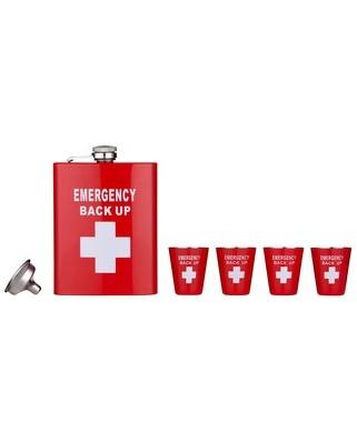 Ploskačka Emergency Backup + 4 poháriky