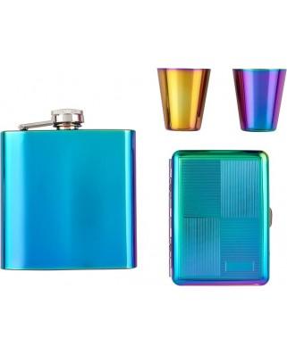 Darčekový set ploskačka, poháriky a tabatierka - Rainbow