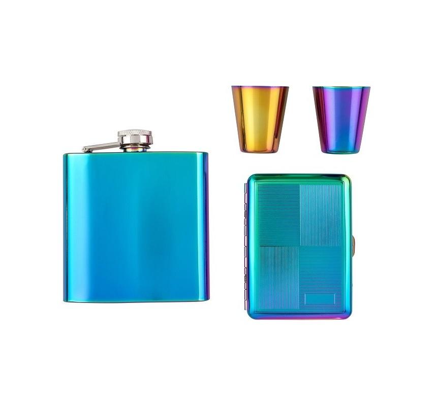 Rainbow Darčekový set ploskačka, poháriky a tabatierka