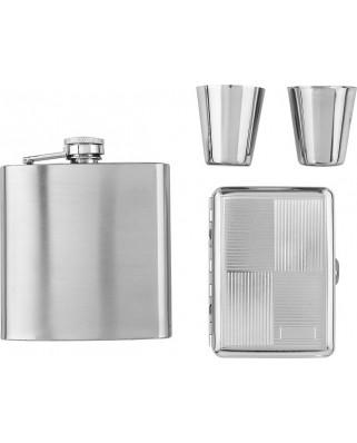 Darčekový set ploskačka, poháriky a tabatierka - strieborná