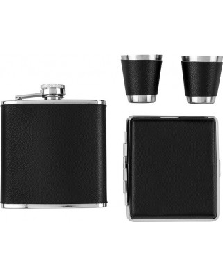 Darčekový set ploskačka, poháriky a tabatierka - čierna