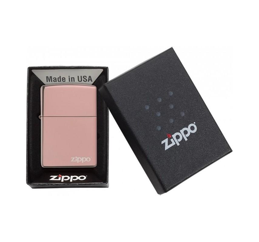 Zippo High Polish Rose Gold Logo 26908