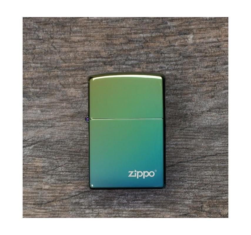 Zippo High Polish Teal Logo 26914