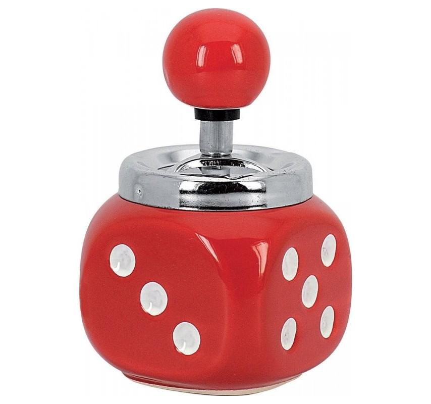 Rotačný popolník Hracia kocka Červená 12718